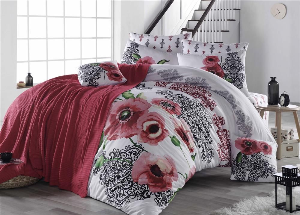 Bed linen set with knıtted blanket